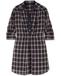 Marc Jacobs - Satin-trimmed Checked Silk-voile Dress - Lyst
