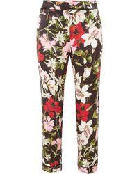Erdem - Ginnie Cropped Floral-print Silk-satin Straight-leg Trousers - Lyst
