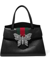 efc0b1932f6b Gucci - Totem Crystal-embellished Textured-leather Tote - Lyst