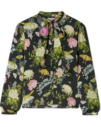 Vilshenko - Layla Pussy-bow Printed Silk Blouse - Lyst