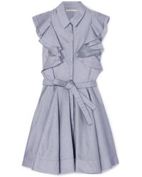Antonio Berardi - Ruffled Cotton-chambray Mini Dress - Lyst
