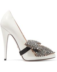 Gucci - Bow-embellished Patent-leather Court Shoes - Lyst