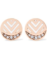 Alice Cicolini - Memphis Chevron 14-karat Gold, Diamond And Enamel Earrings - Lyst