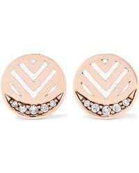 Alice Cicolini | Memphis Chevron 14-karat Gold, Diamond And Enamel Earrings | Lyst