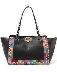 Valentino - Rockstud Embroidered Textured-leather Trapeze Bag - Lyst