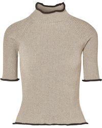 Golden Goose Deluxe Brand - Alya Metallic Ribbed-knit Turtleneck Top - Lyst
