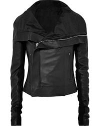 Rick Owens - Ribbed Wool-paneled Leather Biker Jacket - Lyst