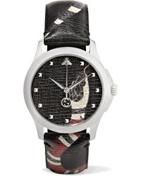 Gucci - Printed Textured-leather And Silver-tone Watch - Lyst