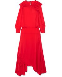 Preen Line - Mia Ruffled Crepe De Chine Maxi Dress - Lyst