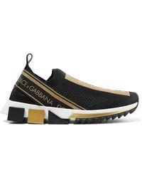 21081fb98b8d Dolce   Gabbana - Sorrento Metallic-trimmed Stretch-mesh Slip-on Sneakers -