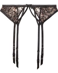 Fleur du Mal - Satin-trimmed Flocked Lace Suspender Belt - Lyst