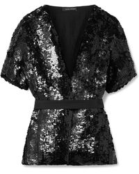 Narciso Rodriguez - Belted Sequined Silk Blouse - Lyst