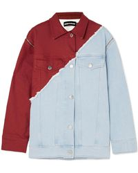 House of Holland - Oversized Distressed Two-tone Denim Jacket - Lyst