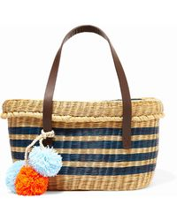 Sophie Anderson - Serenella Pompom-embellished Leather-trimmed Woven Raffia Tote - Lyst