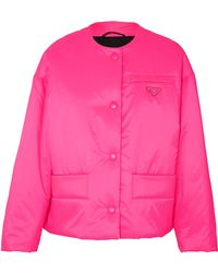 Prada - Leather-trimmed Neon Quilted Shell Jacket - Lyst