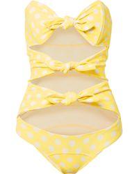 Lisa Marie Fernandez - Triple Poppy Knotted Polka-dot Stretch-crepe Swimsuit - Lyst