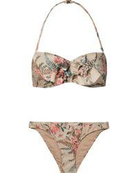 Zimmermann - Bayou Ruffled Floral-print Bandeau Bikini - Lyst
