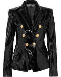 Balmain - Double-breasted Patent-leather Blazer - Lyst