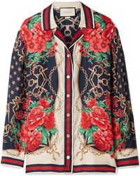 Gucci - Oversized Printed Silk-twill Shirt - Lyst