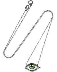 Lito - Tu Es Partout 14-karat Blackened White Gold, Enamel And Multi-stone Necklace White Gold One Size - Lyst