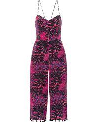 Matthew Williamson - Pompom-trimmed Printed Silk Crepe De Chine Jumpsuit - Lyst