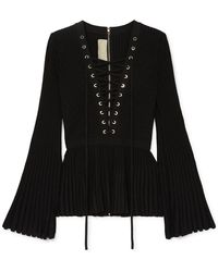 Elie Saab - Lace-up Ribbed-knit Top - Lyst