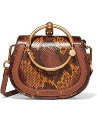 Chloé - Nile Small Leather-trimmed Python Shoulder Bag - Lyst