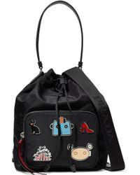 Prada - Embellished Shell And Textured-leather Shoulder Bag - Lyst