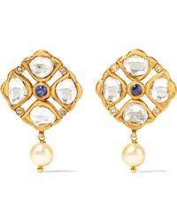 Amrapali - 18-karat Gold, Tanzanite, Diamond And Pearl Earrings - Lyst
