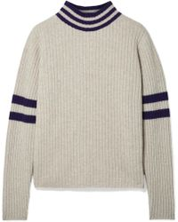 The Elder Statesman - Odyssey Striped Ribbed Cashmere Turtleneck Sweater - Lyst