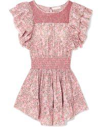 LoveShackFancy - Marcella Smocked Floral-print Cotton-voile Mini Dress - Lyst