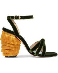 MR by Man Repeller - Jingling Fringed Velvet Sandals - Lyst