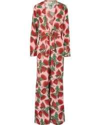 Adriana Degreas - Fiore Floral-print Silk Crepe De Chine Jumpsuit - Lyst