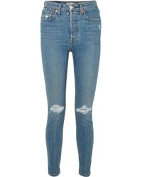RE/DONE - Distressed High-rise Skinny Jeans - Lyst