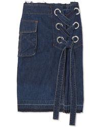 Sacai | Lace-up Frayed Denim Skirt | Lyst