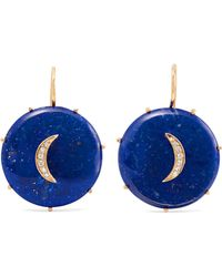 Andrea Fohrman - Crescent Moon 14-karat Gold, Lapis Lazuli And Diamond Earrings - Lyst