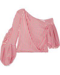 Hellessy - Hilda One-shoulder Striped Silk-blend Twill Top - Lyst