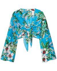 Diane von Furstenberg - Cropped Floral-print Cotton And Silk-blend Wrap Top - Lyst