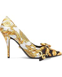 4d1aba007918 Versace - Printed Silk-faille And Leather Pumps - Lyst