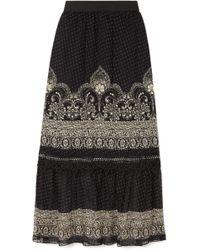 Anna Sui - Fountains Of Fancy Printed Fil Coupé Silk-blend Chiffon Maxi Skirt - Lyst