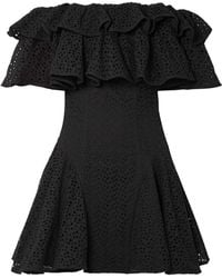 House of Holland - Off-the-shoulder Ruffled Broderie Anglaise Mini Dress - Lyst