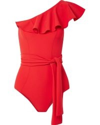 Lisa Marie Fernandez - Arden Ruffled One-shoulder Stretch-crepe Swimsuit - Lyst