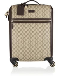 Gucci   Gran Turismo Leather-trimmed Coated-canvas Travel Trolley   Lyst