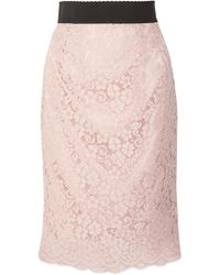 Dolce & Gabbana - Corded Cotton-blend Lace Midi Skirt - Lyst