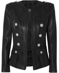 Balmain - Button-embellished Leather Blazer - Lyst