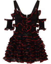 Alexander McQueen | Cold-shoulder Ruffled Stretch-knit Mini Dress | Lyst