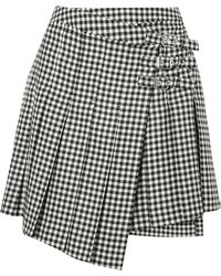 McQ - Pleated Gingham Wool-twill Wrap Mini Skirt - Lyst