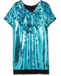 Marc Jacobs - Satin-paneled Sequined Georgette Mini Dress - Lyst