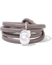 Mizuki - 14-karat Gold, Leather And Pearl Wrap Bracelet - Lyst