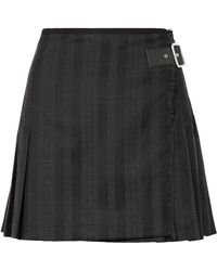McQ - Wrap-effect Striped Wool-blend Jacquard Mini Skirt - Lyst